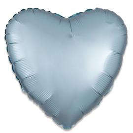 Folieballon hart satin pastelblauw 43cm