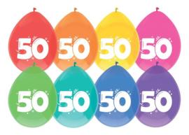 """Ballonnen """"50"""" 8 st. 30 cm"""