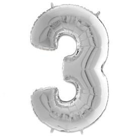 Cijfer 3 Zilver - 66 cm