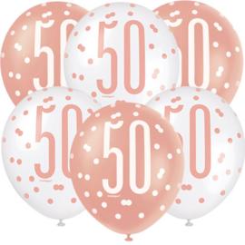 """Ballonnen Rose Gold Glitz """"50"""" - 30 cm (6 stuks)"""