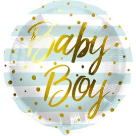 Folieballon 'Baby Boy' Strepen Blauw - 45cm