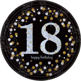 Bordjes sparkling gold '18' (Ø23cm, 8st)