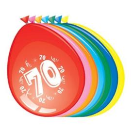 Latex Ballonnen 70 jaar 8 Stuks