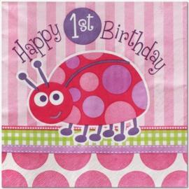 1e Verjaardag Lieveheersbeestje servetten 16 stuks