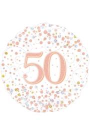 Folieballon 50 Jaar Rosé Goud & Wit  - 45 cm
