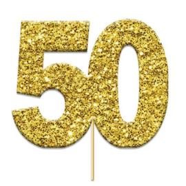 Cake topper 50 glitter goud (4cm, 12st)