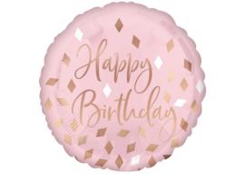 Folieballon Happy Birthday Blush - 45 cm