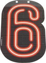 Neon Cijfer 6 - 24cm
