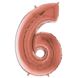 Cijfer 6 Rosé Goud - 66 cm