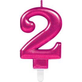Verjaardag Kaars 2 jaar- Roze 7.5 cm