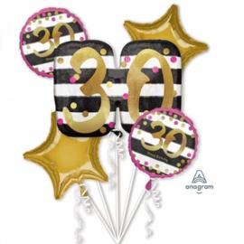 Folieballonnen boeket 30 Jaar Roze en goud