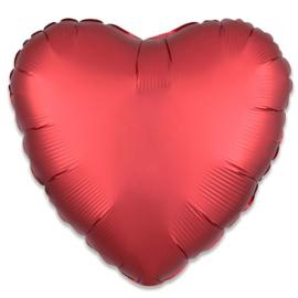 Folieballon hart satin sangria - 43 cm