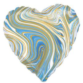 Folieballon Marblez hart blauw (43cm)