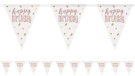 Vlaggenlijn 'Happyy Birthday' Glitter Rosé Gold