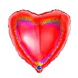 Folieballon hart glitter rood - 46 cm