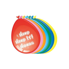 Ballonnen 'Hiep Hiep Hoera' (Ø30cm, 8st)