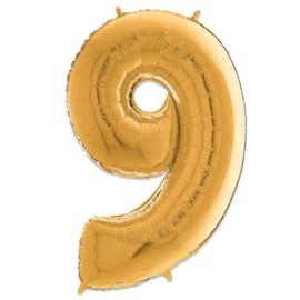 Cijfer 9 Goud - 66 cm