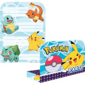 Pokemon verjaardags uitnodigingen - 16 stuks