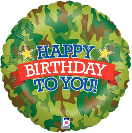 Folieballon Happy Birthday Camouflage - 45 cm