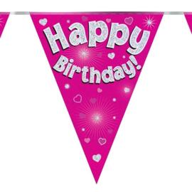 Vlaggenlijn 'Happyy Birthday' Glitter Roze