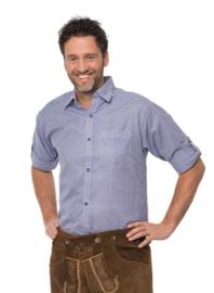 Tiroler blouse blauw/wit geblokt
