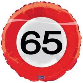65 Jaar Verkeersbord Folieballon - 46 cm
