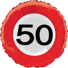 50 jaar verkeersbord folieballon - 46 cm