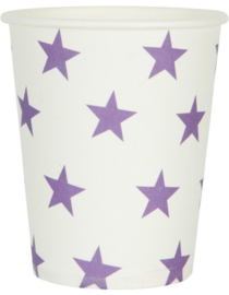 Papieren bekers 10 stuks wit met paarse sterren