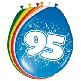 Latex Ballonnen 95 jaar ster  8 Stuks lucht