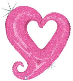 Folieballon chain of hearts pink - 94 cm