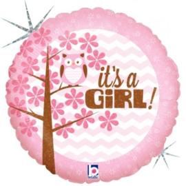 Folieballon Geboorte Meisje Its A Girl! Baby uil 45 cm