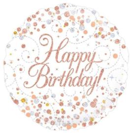 Folieballon Happy Birthday Rosé Goud & Wit - 45 cm