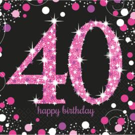 Glitterfeest 40 Jaar Servetten Roze - 16 stuks