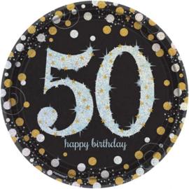 Glitterfeest 50 Jaar Papieren Bordjes 23 cm