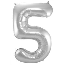 Cijfer 5 Zilver - 86 cm