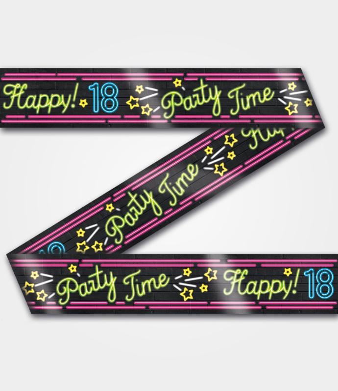 Neon Party tape - 18 jaar - 12 meter