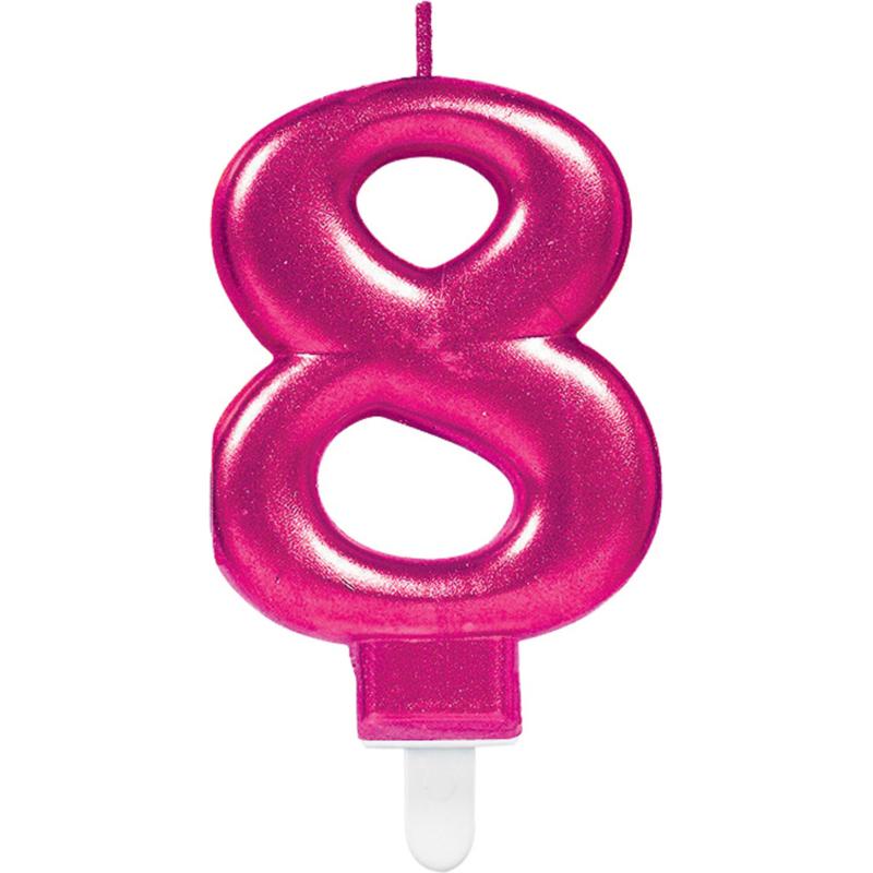 Verjaardag Kaars 8 jaar - Roze 7.5 cm