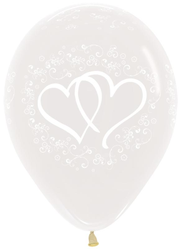 Ballon Verstrengelde harten Transparant (1st)