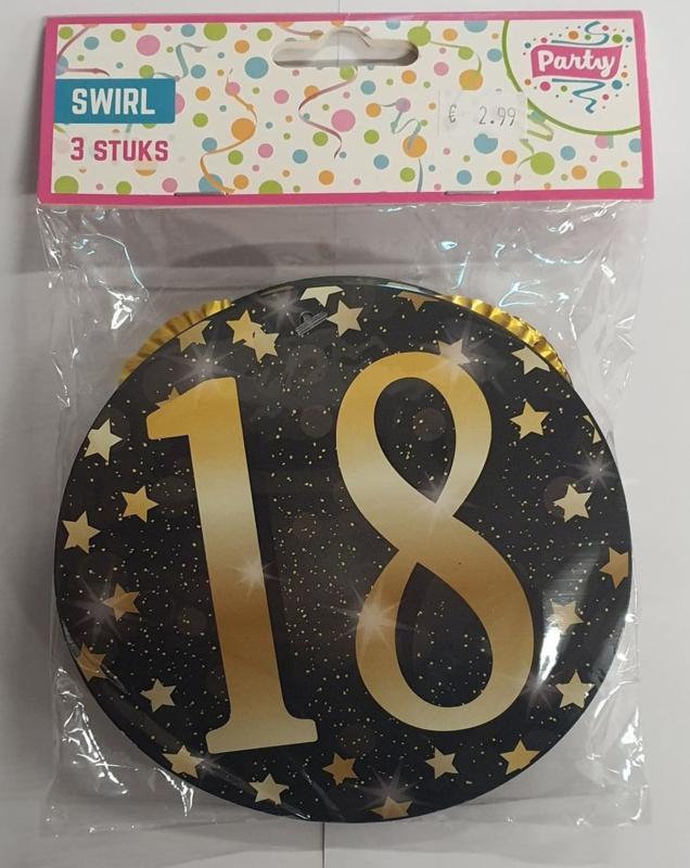 18 Jaar Gold Party Swirls - 3 stuks