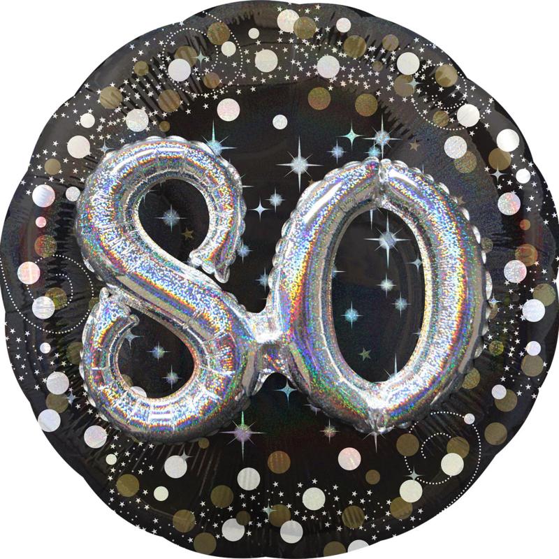 Folieballon 80 Jaar 3D Sparkling - 81 cm