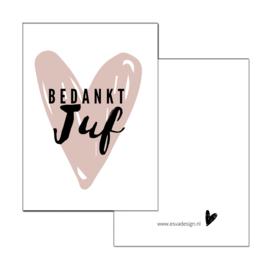 Mini kaartje Bedankt Juf roze