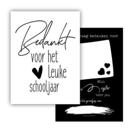 Mini kaartje Bedankt voor het leuke schooljaar