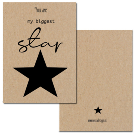 Mini kaartje Star ... ( gedrukt op Kraft karton )