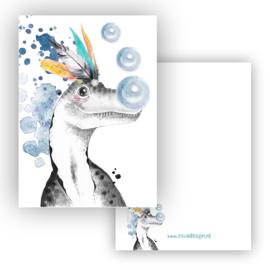 Mini kaartje Dino T-rex