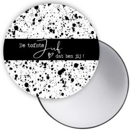 Lieve Juf zwart wit dots