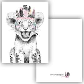 Mini kaartje Boho Leeuw