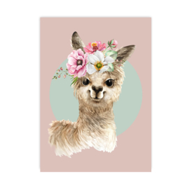 Poster Alpaca roze