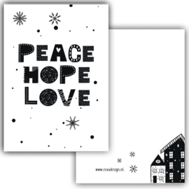 Mini kaartje Peace Hope Love