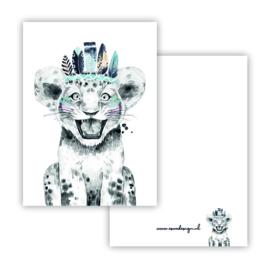Mini kaartje Boho Leeuw blauw