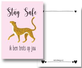 Kaart Leopard trots roze